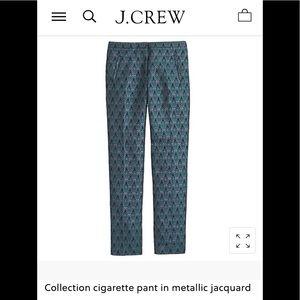 Jcrew Cigarette Pants in Metallic Jacquard